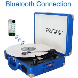 Boytone BT-101BL Bluetooth Turntable Briefcase Record player AC-DC, Built in Rechargeable Battery, 2 Stereo Speakers 3-speed