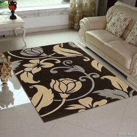 "Allstar Brown Modern Geometric flower design Area Rug (5' 2"" x 7' 2"")"