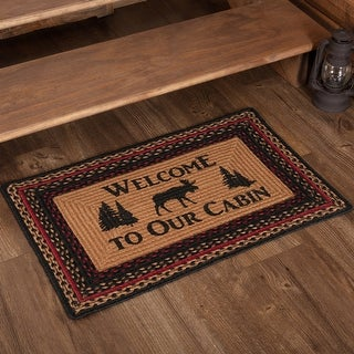 """Cumberland Moose Welcome to the Cabin Stenciled Jute Rug - 1'8"""" x 2'6"""""""