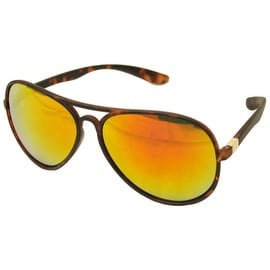 Aviator Sunglasses Tortoise Flexible Frame Red Yellow Green Mirrored Lens UV400