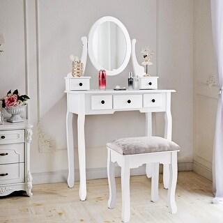 Costway Makeup Desk Vanity Dressing Table Oval Stool 5 Storage Drawers