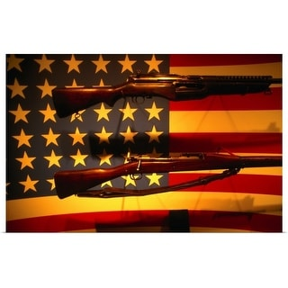 """""""Guns and the American flag at the D Day Museum, New Orleans, Louisiana"""" Poster Print"""