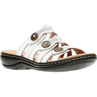 Clarks Women's Leisa Grace Strappy Slide White Full Grain Leather
