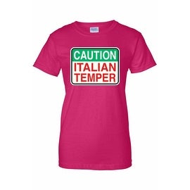 Women's Juniors T-Shirt Caution Italian Temper Humor Italy Italian Pride