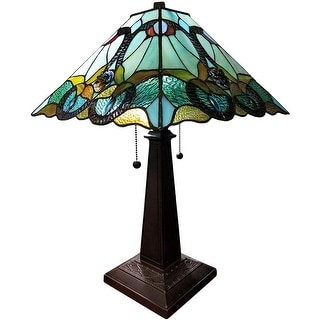 """Tiffany Style Table Lamp 20"""" Tall Stained Glass White Decor Nightstand Bedroom Handmade Gift AM254TL14B Amora Lighting"""