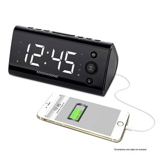Magnasonic USB Charging Alarm Clock Radio for Smartphones & Tablets with Dual Alarm, Battery Backup & Auto Time Set