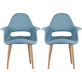 2xhome - Set of Two (2) - Blue - Upholstered Organic Arm Chair Armchair Fabric Chair Blue with Light brown Natural Wood Legs