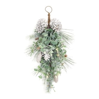 Set of 2 Pine and Eucalyptus Artificial Christmas Teardrop Swags - Unlit 26""