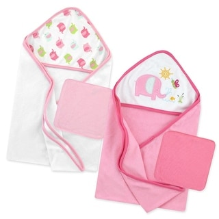 Just Born Love to Bathe 4-Piece Hooded Towel & Washcloth Set Pink - OSZ