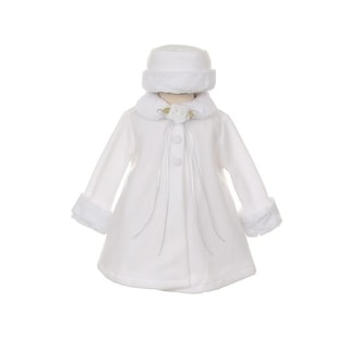 Kids Dream White Fleece Faux Fur Collar Stylish Coat Baby Girl 6-24M