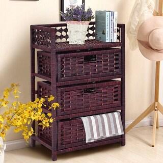 Costway 3 Drawer Storage Unit Tower Shelf Wicker Baskets Storage Chest