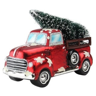 """8.25"""" Red Vintage Truck Hauling a Frosted Tree Table Top Christmas Decoration"""