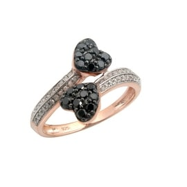 Lovely 0.48 Tcw Natural Black Diamond With Diamond Bypass Valentine Ring