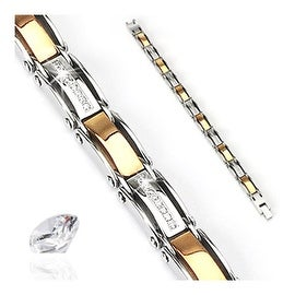 Stainless Steel Plated Coffee with CZ Stones Inlayed Bracelet (9 mm) - 8.5 in