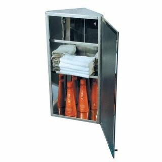 Rustfree Corner Medicine Cabinet Mirrored Door Organizer Wall Mount Shelves Stainless Steel Polished Renovators Supply