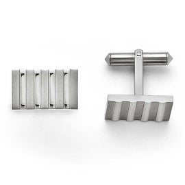 Chisel Titanium Polished and Brushed Stripes Cuff Links