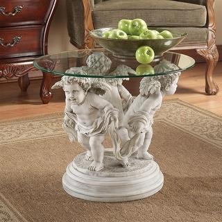 Design Toscano Bernini's Cherubs Glass-Top Sculptural Table