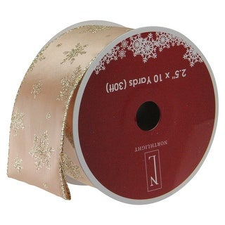 "Gold Sparkling Stars Wired Christmas Craft Ribbon 2.5"" x 10 Yards"