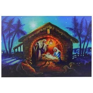 "LED Fiber Optic Lighted Nativity Scene Christmas Wall Art 15.75"" x 23.5"""
