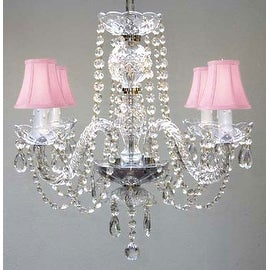 All Crystal Chandelier With Pink Shades H17 x W17