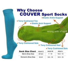 Sky Blue Couver Knee High Unisex Sports Athletic Baseball Softball Socks(3 Pairs)