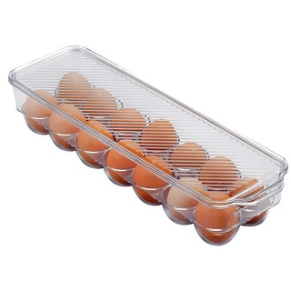 Premius Stackable 14 Egg Holder Bin With Lid, Clear, 14.5x4.5x3 Inches