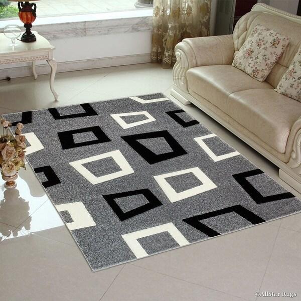 Allstar Grey Modern Geometric Square Black And White