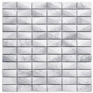 "TileGen. 1"" x 2"" 3D Cut Marble Mosaic in White Wall Tile (10 sheets/9.7sqft.)"