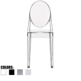 Clear Modern Dining Molded Armless No Arm Side Chairs Stacking Plastic Home Office Kitchen Work Bedroom Designer