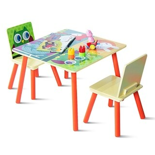 Gymax Kids Table and 2 Chairs Set For Toddler Baby Gift Desk Furniture