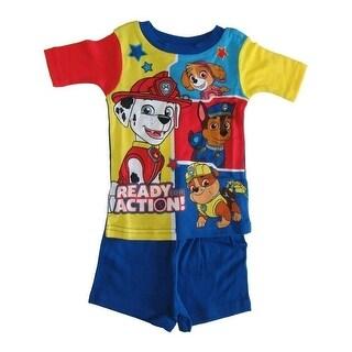 Nickelodeon Little Boys Royal Blue Yellow Paw Patrol Two Piece Pajamas