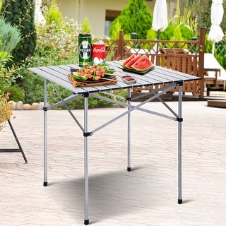 Costway Roll Up Portable Folding Camping Square Aluminum Picnic Table w/Bag (27-3/5'' ) - sliver