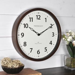 FirsTime & Co.® Nolan Whisper Wall Clock, American Crafted, Dark Espresso, Plastic, 12 x 2 x 12 in - 12 x 2 x 12 in