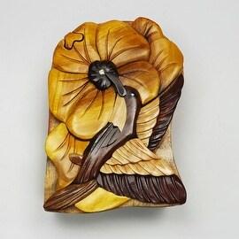 Handmade Art Intarsia Wooden Puzzle Box - Humming Bird(295)