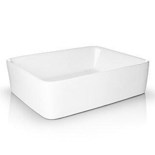 "19"" x 15"" Rectangular White Ceramic Sink Modern Bathroom - Miligore"