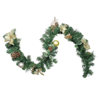 "6' x 9"" Poinsettia and Pinecone Artificial Christmas Garland - Unlit - Green"