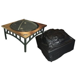 Fire Sense 02056 Outdoor Square Fire Pit Vinyl Cover - Black Vinyl