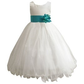 Wedding Easter Flower Girl Dress Wallao Ivory Rattail Satin Tulle (Baby - 14) Teal