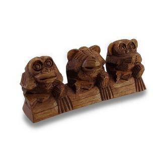 See, Hear, Speak No Evil Three Sitting Monkeys Hand-Carved Statue - 3 X 7.75 X 2.25 inches