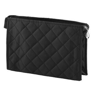 Household Women Travel Polyester Zippered Cell Phone Holder Cosmetic Bag Black