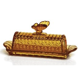 Palais Glassware Papillon Collection; High Quality Glass Covered Butter Dish (Amber)