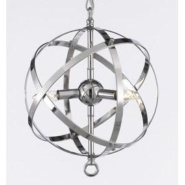 Foucault's Orb Chandelier Lighting Chrome Finish