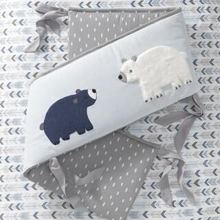 Lambs & Ivy Signature Montana Blue/Gray Woodland Bear 4-Piece Baby Crib Bumper