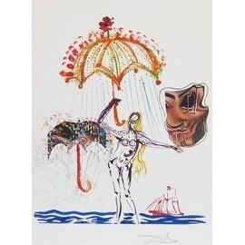 Anti-Umbrella With Atomized Liquid, Lithograph and Collage, Salvador Dali