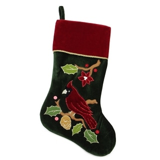 """20.5"""" Red and Green Cardinal Embroidered Christmas Stocking"""