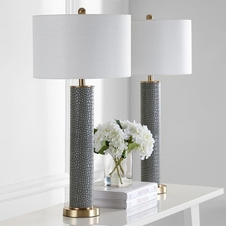 "Safavieh Lighting 32-inch Ollie Faux Alligator Grey Table Lamp (Set of 2) - 15""x15""x31.5"""