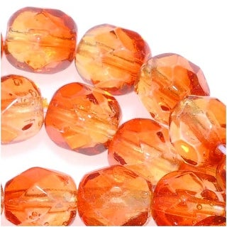 Czech Fire Polished Glass Two Toned Beads 6mm Round Orange Yellow Fireopal (25)