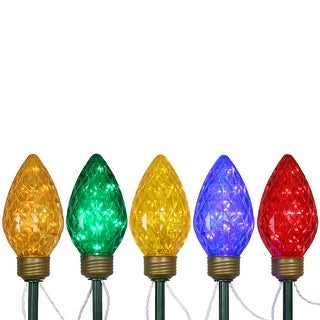 5ct Multi-Color LED Jumbo C9 Bulb Christmas Pathway Marker Lawn Stakes - 8 ft White Wire
