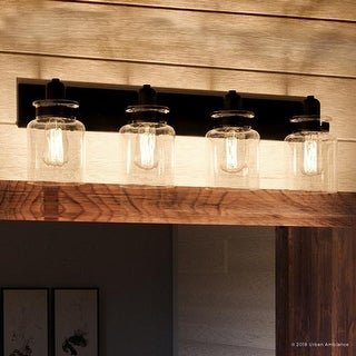 """Luxury Modern Farmhouse Bathroom Vanity Light, 8.625""""H x 30.25""""W, with Industrial Style, Olde Bronze Finish by Urban Ambiance"""