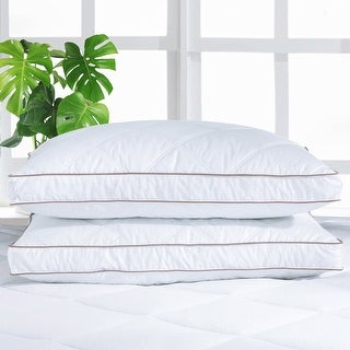 "2 Pack Medium-Firm 2"" Gusset Down and Feather Pillows for Side and Back Sleepers - White"